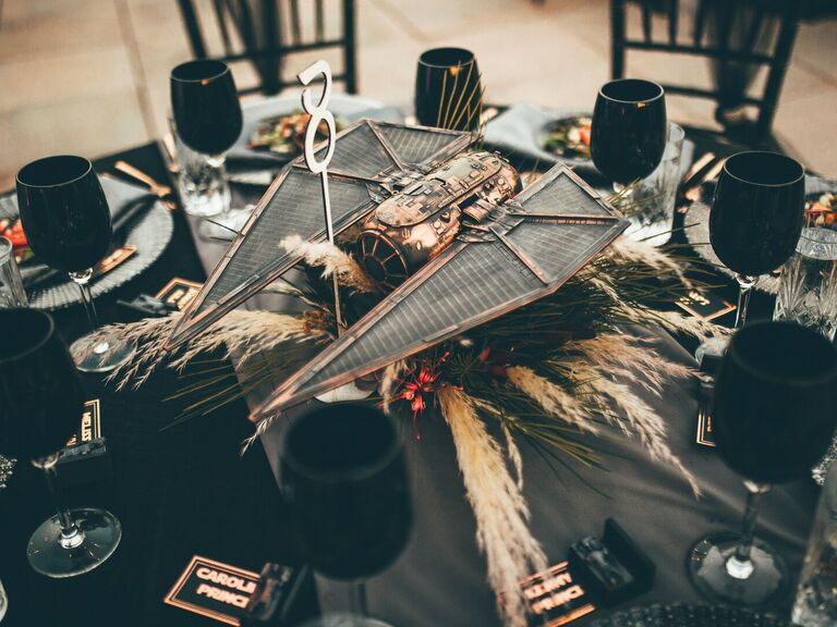 spring wedding centerpieces Star Wars-inspired decor