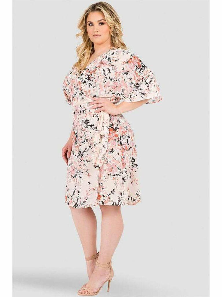 Pink floral wrap dress