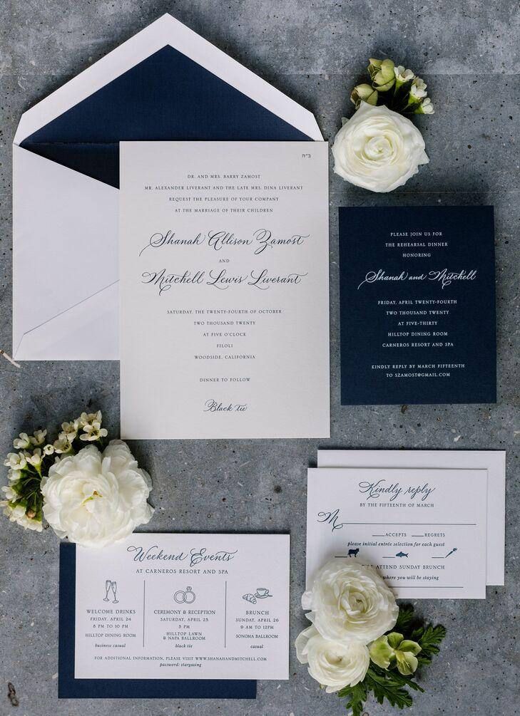 Classic Navy-and-White Wedding Invitation