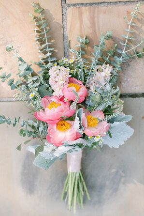 Pink Peony, Stock and Greenery Bouquet