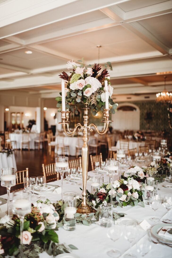 Tall, Elegant Centerpiece with Floral Table Runner