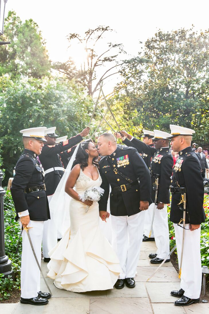 Bride in a Formal Gown and Groom in Military Dress
