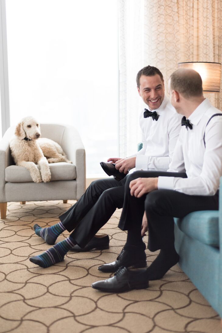 While many couples do a first-look photo, Mike and Michael  got dressed together with their pup.