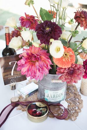 Burgundy and Pink Dahlia Centerpieces in Vintage Galvanized Vases