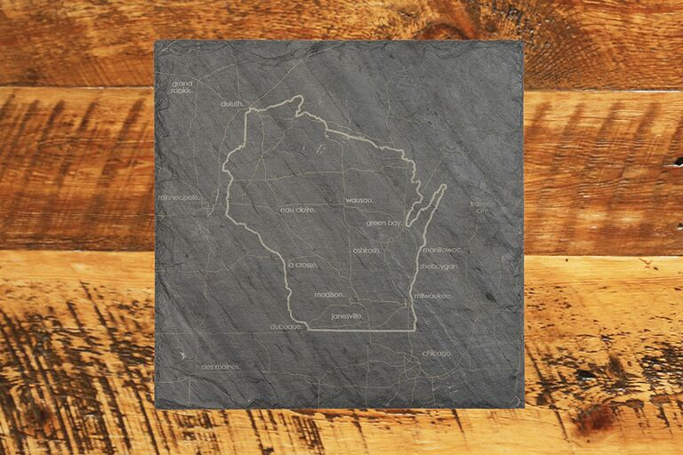 Appetizer slate with customized State outline