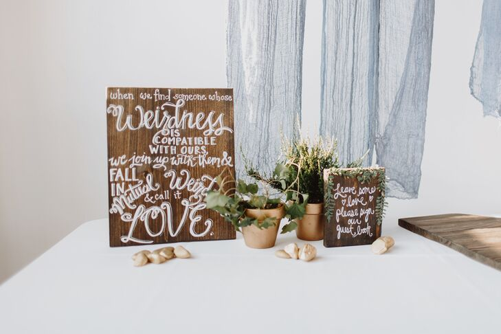 Wooden Hand-Lettered Guest Book Sign