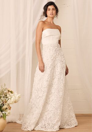 Lulus My Heart Belongs to You White Rosette Strapless A-Line Gown Ball Gown Wedding Dress