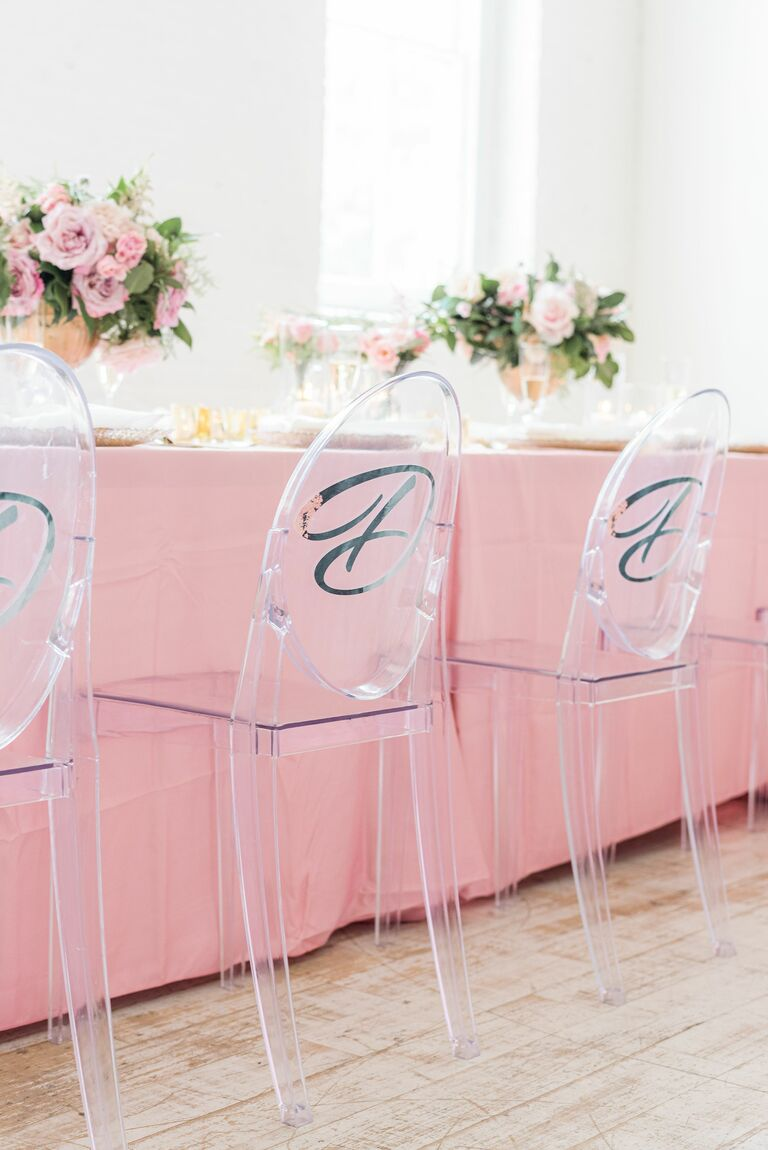 Ghost chairs with custom decals