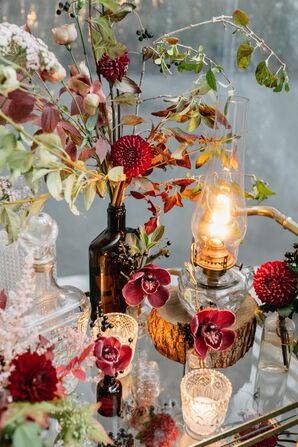 Vintage Crystal Décor and Oil Lamps with Fall Blooms and Leaves