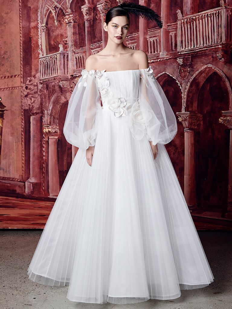 Isabelle Armstrong off-the-shoulder ballgown with tulle sleeves