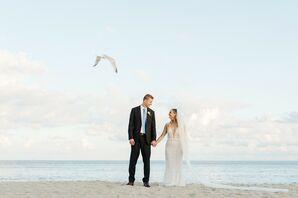 Modern Beach Couple in Navy Suit and Mermaid Wedding Dress