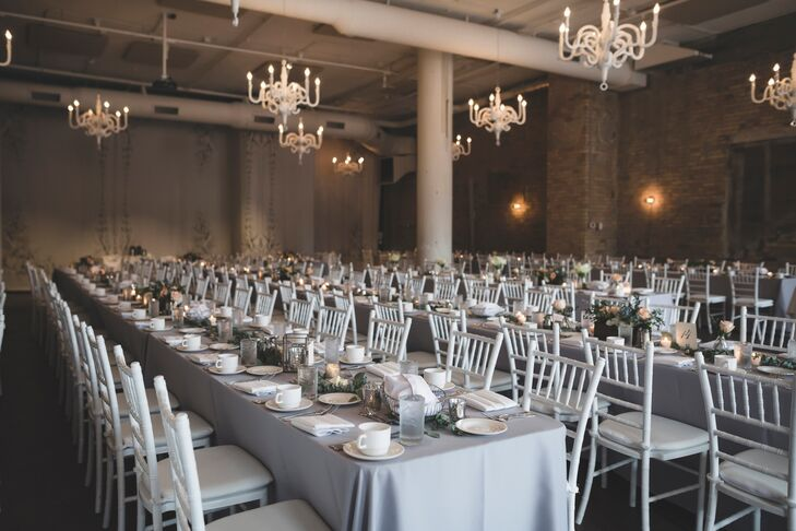Reception with Neutrals and Hanging Chandeliers
