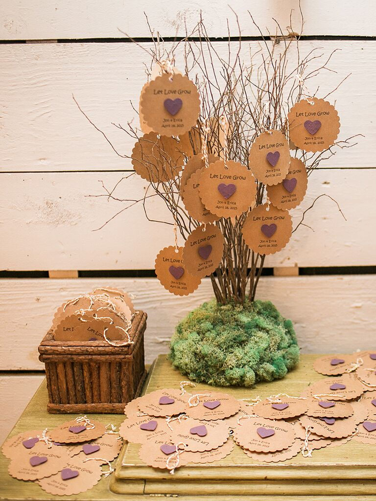 Lavender seedlings attached to thank-you cards