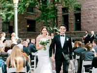 couple at wedding recessional