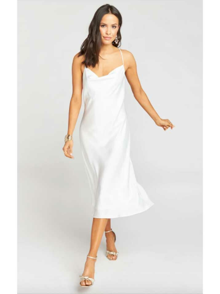 Simple silk beach wedding dress with cowl neckline and crisscross back
