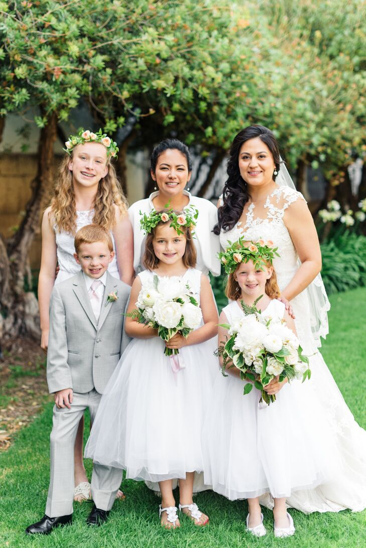Mariko and Andrea's flower girls donned leafy green flower gowns and youthful white dresses.