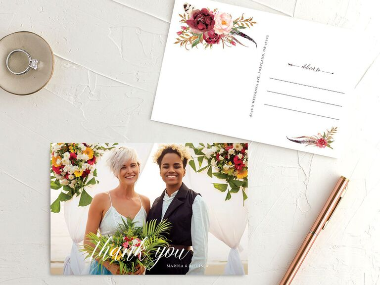 couple photo wedding thank-you postcard with floral detailing