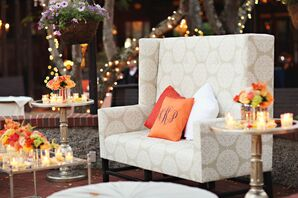 Orange Monogrammed Lounge Pillows