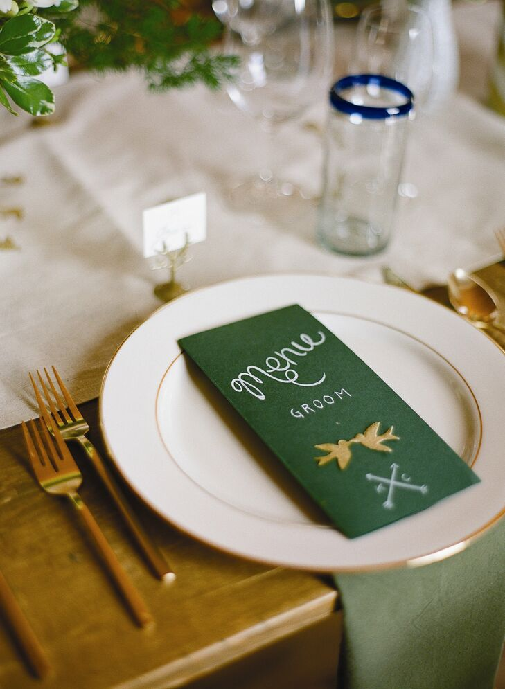 The green place cards featured a tiny design of two swallows kissing.