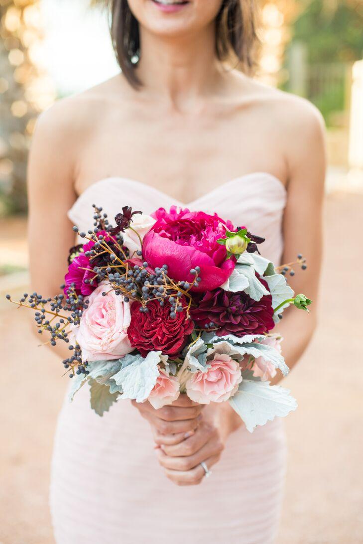 Rustic, Loose Jewel-Toned Bridesmaid Bouquet