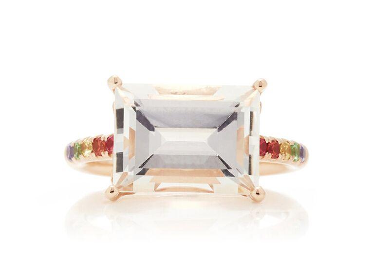 Cirque baguette solitaire pavé engagement ring with white topaz & rainbow pavé stones