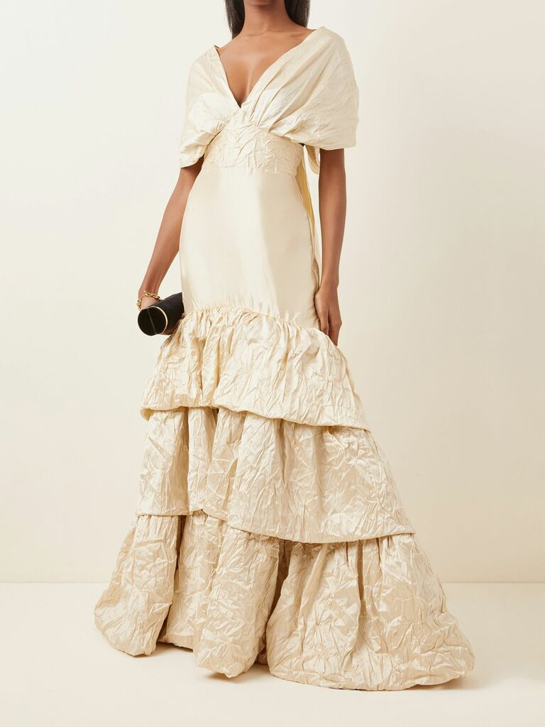 crinkled silk gown with tiered skirt and removable bolero