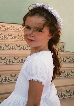 Isabel Garretón Porcelain White Flower Girl Dress