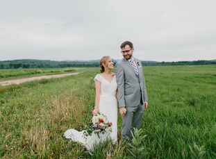 Emily Hough (30 and an editor at Oxford University Press) and John Mileham (34 and an application architect) planned a rustic, bohemian wedding with a