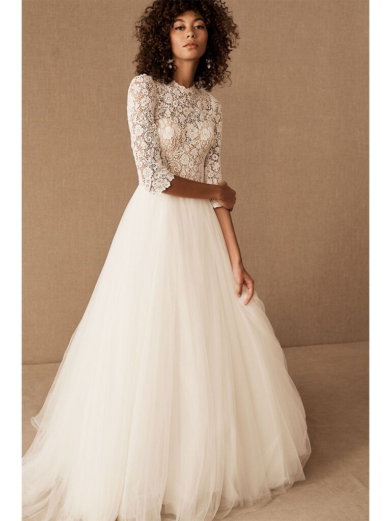 BHLDN A-line dress with lace top overlay