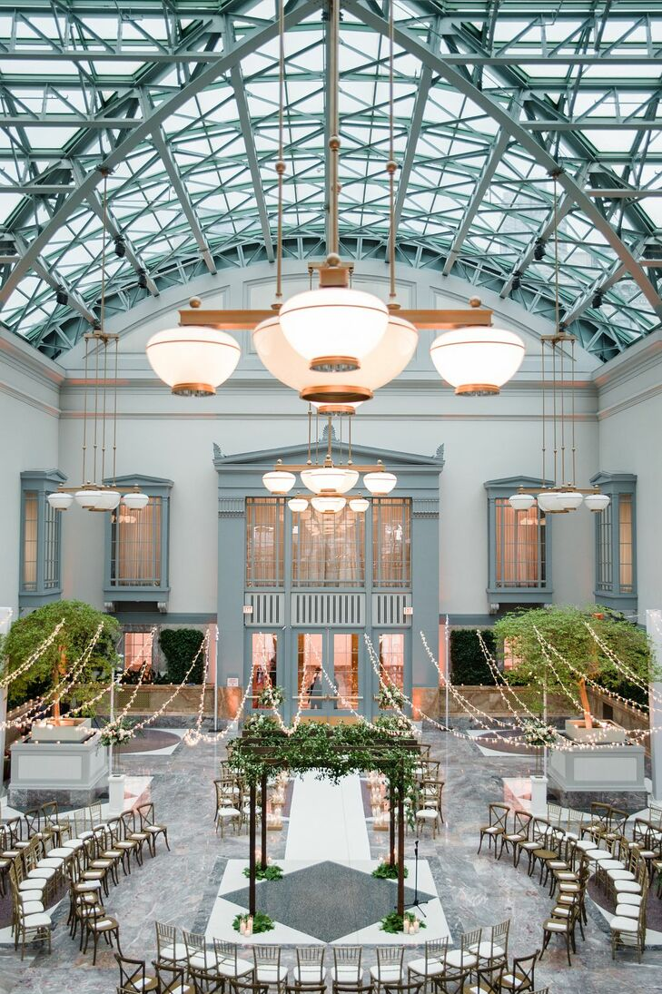 Elegant Wedding Arch and Ceremony Seating at the Harold Washington Library in Chicago, Illinois