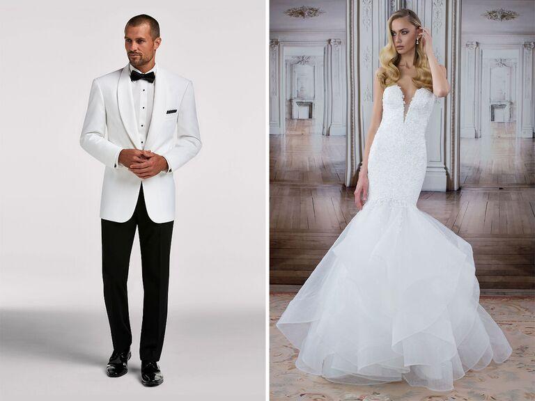 glamorous wedding dress and white tuxedo jacket