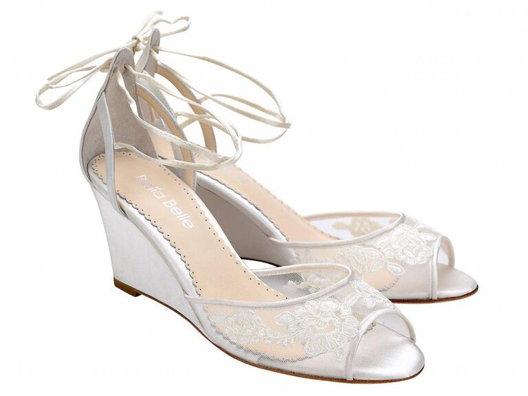 Bella Belle Shoes ivory floral lace wedding wedges