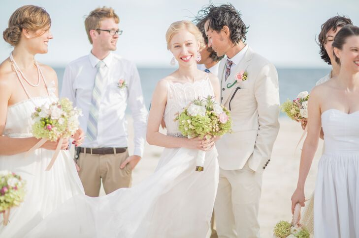 Aubrey carried a bouquet of local green and antique ivory hydrangea.