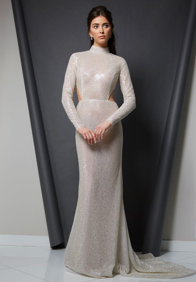 Randi Rahm Spring 2020 Bridal Collection high-neck glam wedding dress with cutouts