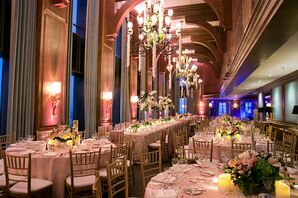 Blush and Gold Ballroom Reception