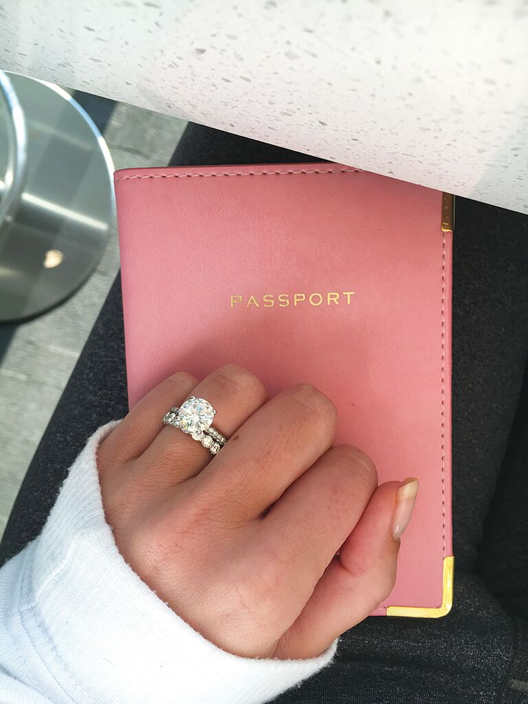 Engagement ring selfie idea with your passport case