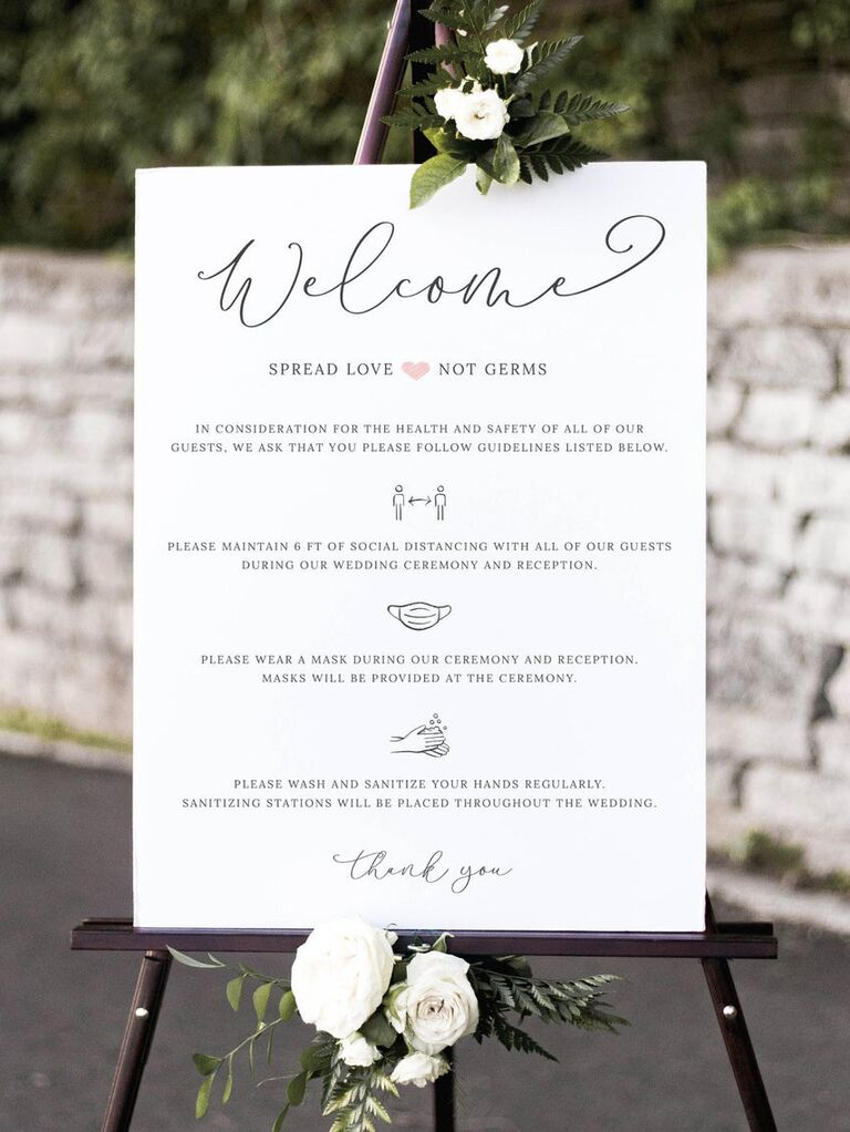 COVID-19 wedding welcome sign