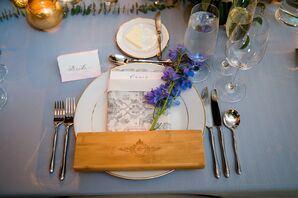 Modern Place Setting with Dinnerware, Flatware and Patterned Menu