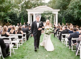 Lauren Wilson and Mark Marré fused a neutral color palette and classic blooms with acrylic touches and clean lines to give their romantic Southern wed