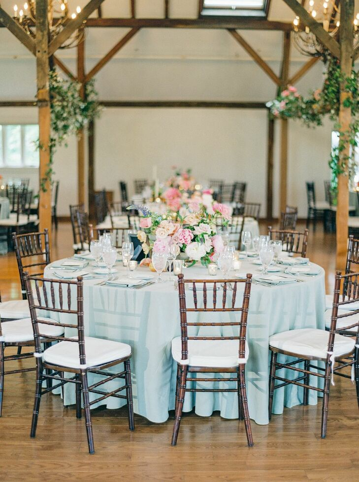 Blue Linens at Romantic Reception in Pennsylvania