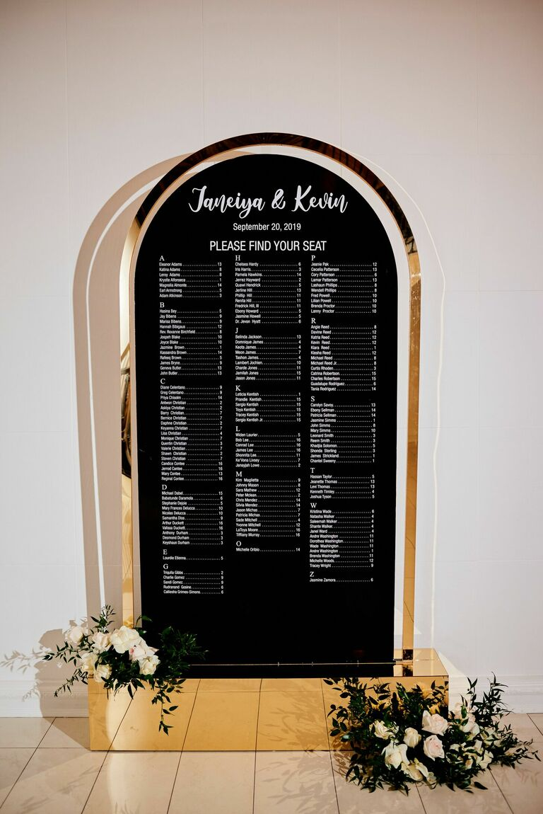Glam black-and-gold metallic seating chart