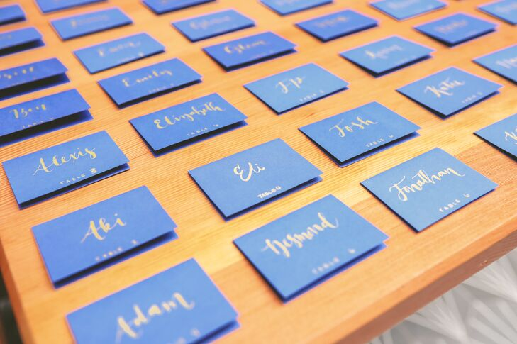 Blue Place Cards with Gold Calligraphy