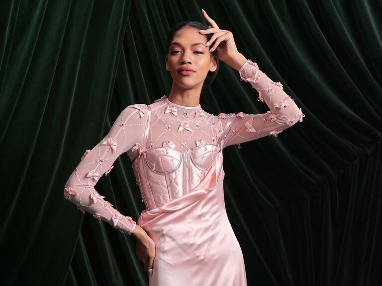 Wiederhoeft pink wedding dress