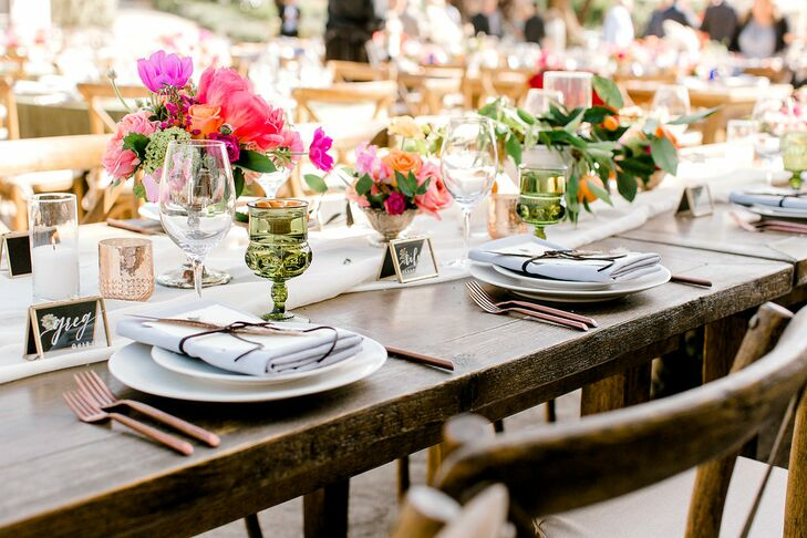 Farm Tables with Colorful Centerpieces and Rustic Place Settings