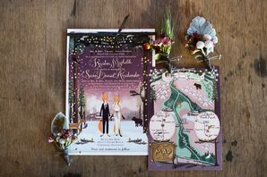 Whimsical Purple Treasure-Map Invitation Suite