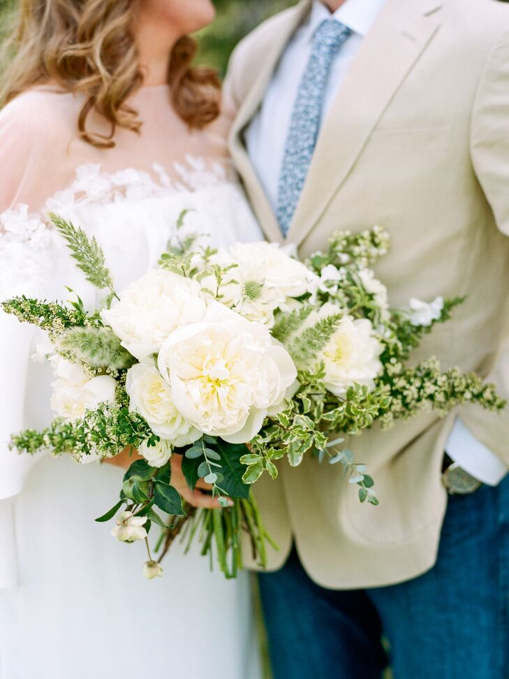 Rustic Bouquet with Greenery and White Peonies and Scabiosa