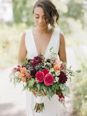 Bride with Berry-Hued Bouquet