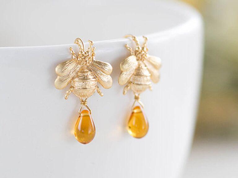 Bee earrings 16th wax anniversary gift
