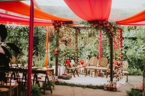 Traditional Mandap with Red Carnations and Draping
