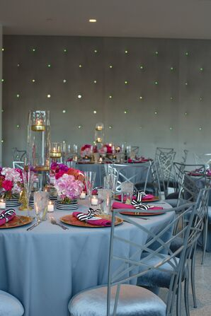 Modern Fuchsia and Silver Dining Tables